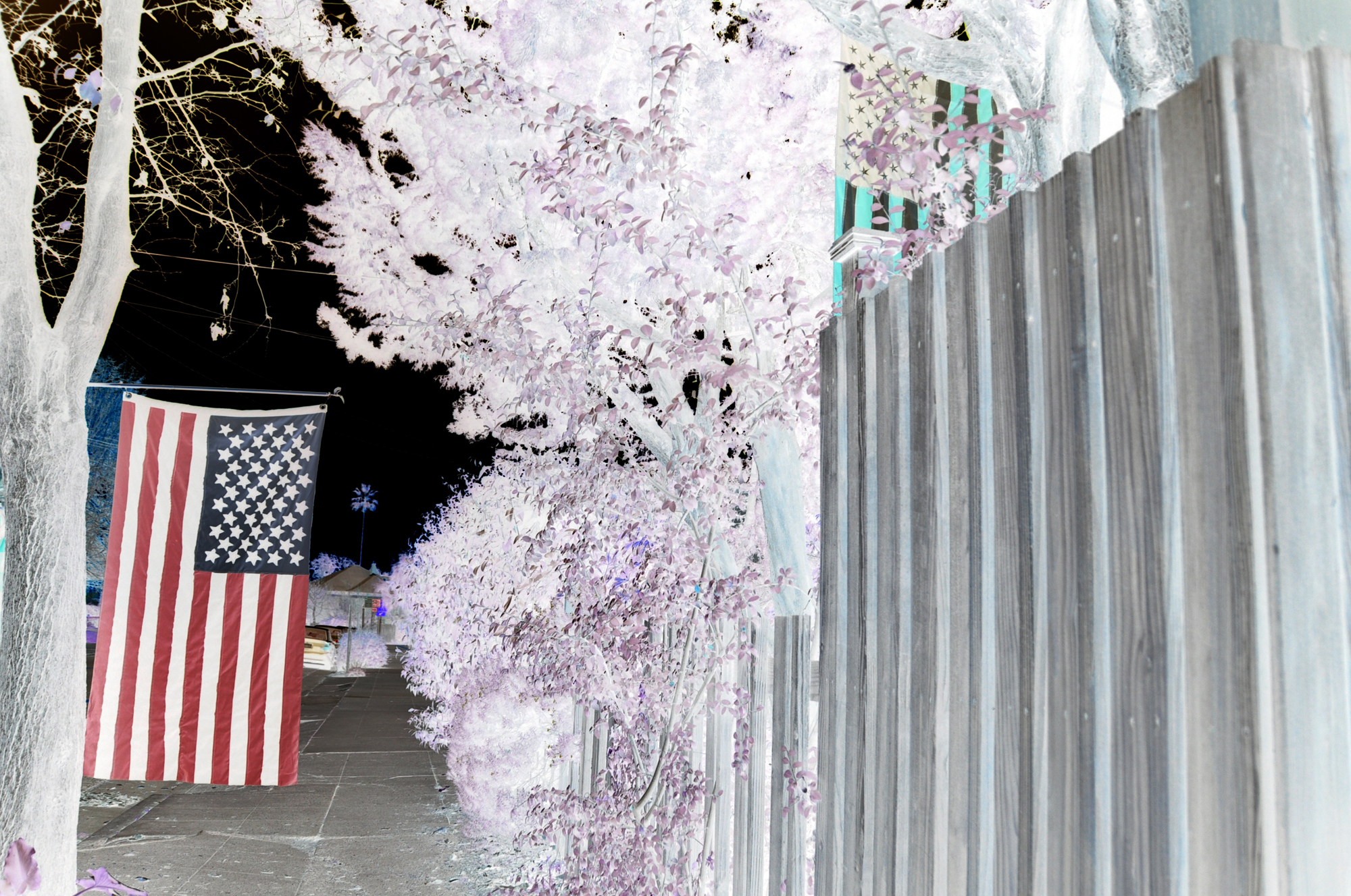 flag illusion optical american fence inverse